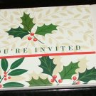 You're Invited Holiday Holly Invitations Vintage