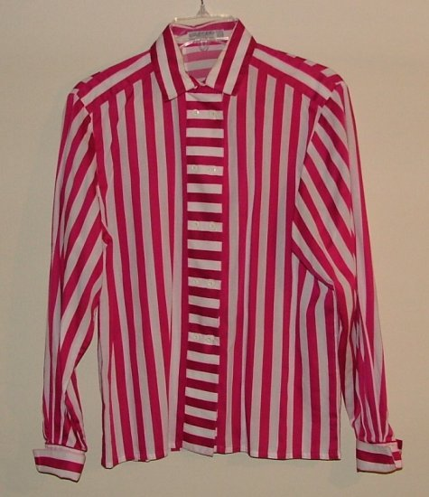 Vintage 80's JAEGER fuchsia striped blouse