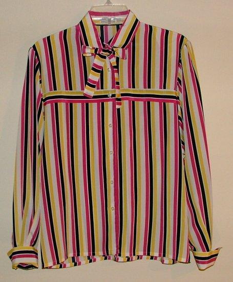 Vintage 80's JAEGER fuchsia black and gold stripe blouse