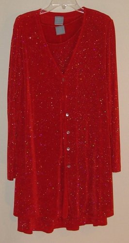 RRR Designs Red with silver sparkles hoiliday dress and jacket 14