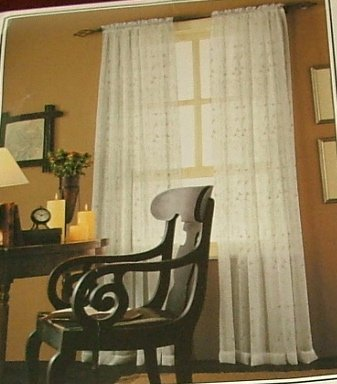 Embroidered Paisley Champagne Sheers Curtains Pair