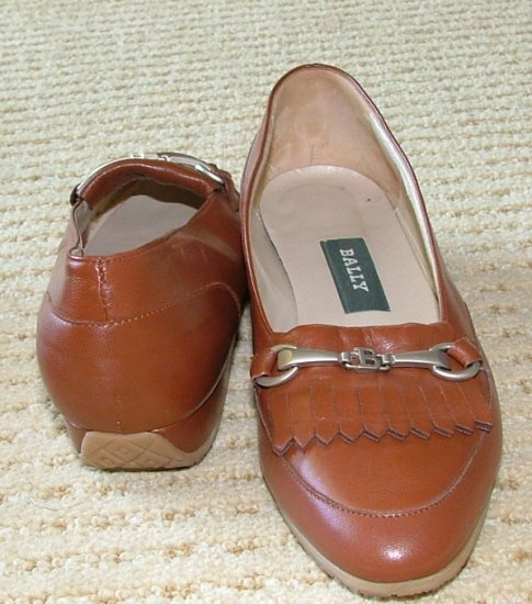 VINTAGE BALLY Ebene Cognac Leather Flat Womens 5 1/5 M