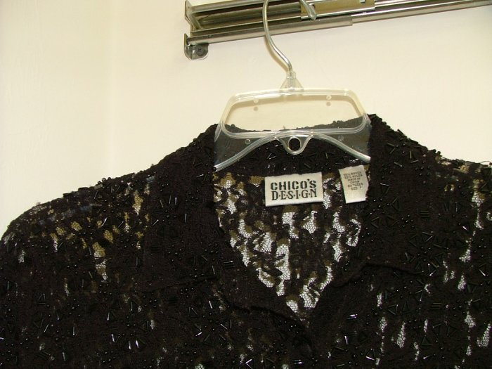 Beaded lace blouse by Chico size 1