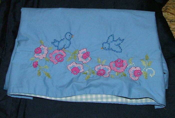 Blue Bird of Happiness Hand Embroidered Standard Pillowcase Custom Handmade Set 1980