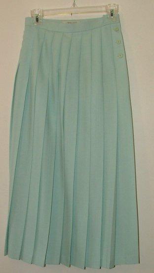 vintage 80's JAEGER classic pleated Aqua wool skirt. size 10