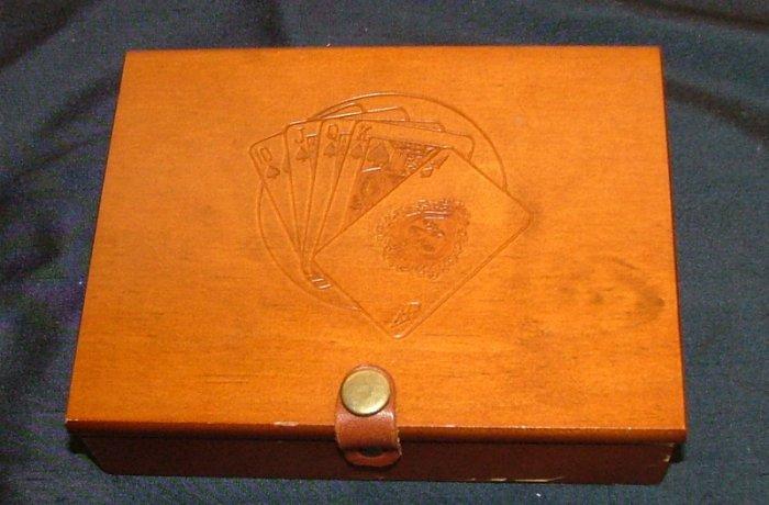 Wood Box Holder for 2 Decks of Cards POKER BRIDGE HOLDEM