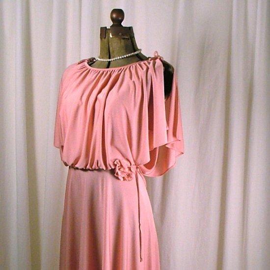 Vintage 70's Pink Polyester Evening Dress aprox sz 6