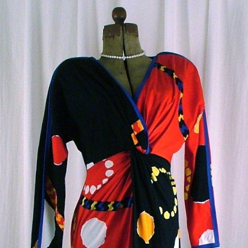 Vintage 80's Jeanne Marc V necked Dress Small 8/10