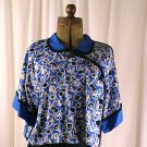 Vintage 80's JEANNE MARC Asymmetrical Blue, Black, White Blouse Petite 4/6