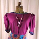 Vintage 80&#39;s JEANNE MARC Purple Blouse Small 8/10