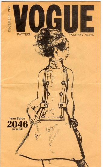 Vogue Pattern Fashion News December 1968 Jean Patou