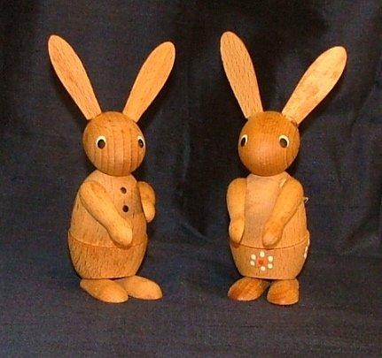 "Pair 3"" Wood Easter Bunnies / Rabbits"