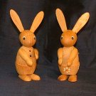 "Pair 3"" Wood Easter Bunnies / Rabbits"