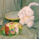 "Vintage 12"" Large Paper Mache Easter Egg Filled with Plush Easter Bunny"