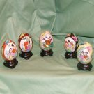 5 Hand painted Oriental Eggs with Stands Geishas