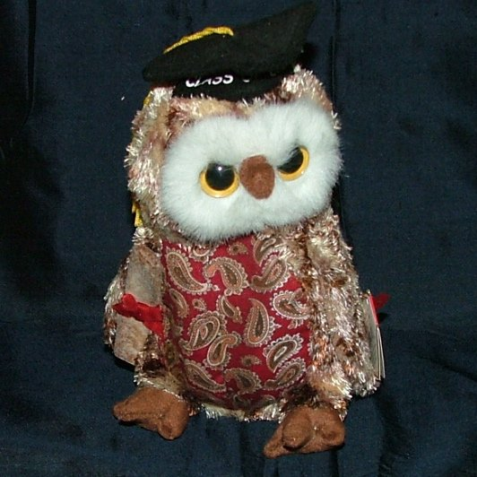 "Ty Smarty The Graduation ""Red  Chest"" Owl Beanie Baby, Stuffed Animal 2004"
