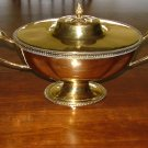 Large Handcrafted Brass Tureen on Pedestal with Elegant Swan Handles, Acorn Finals