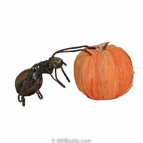 Pumpkin & Spiders (Ants dressed for Halloween)