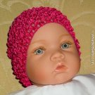 How Darling Hot Pink Beanie Waffle Crochet Baby Hat