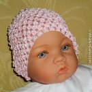 Darling Pale Pink Beanie Waffle Crochet Baby Hat
