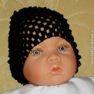 How Darling Black Beanie Waffle Crochet Baby Hat