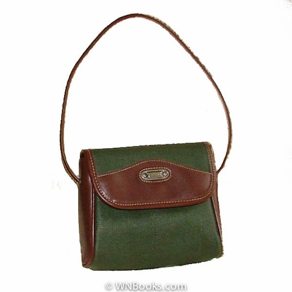 Esprit Green and Brown Satchel Handbag, Purse Vintage 1980