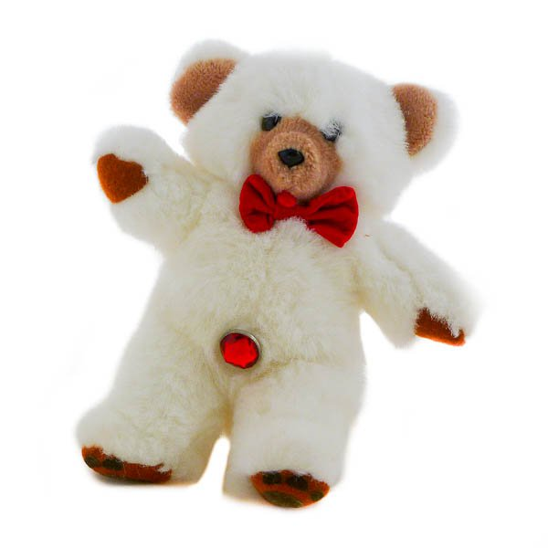 White Teddy Bear, Red Crystal Belly Button, Prrrl Ventures, Stuffed Animal 1986