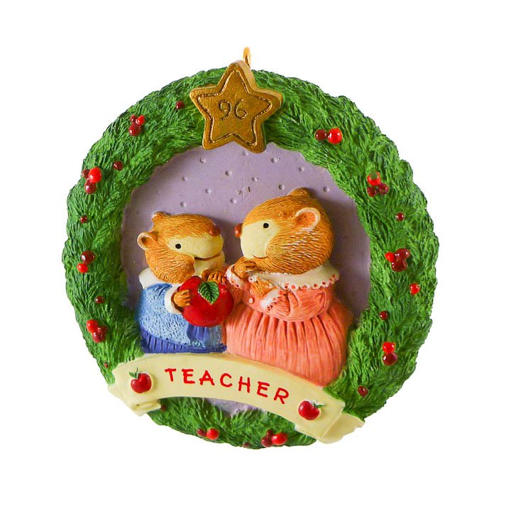 Hallmark Apple For Teacher Gift Keepsake Ornament Wreath 1996 QX6121
