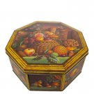 "Octagonal Hummingbird and Fruit Tin 10"" x 10"""