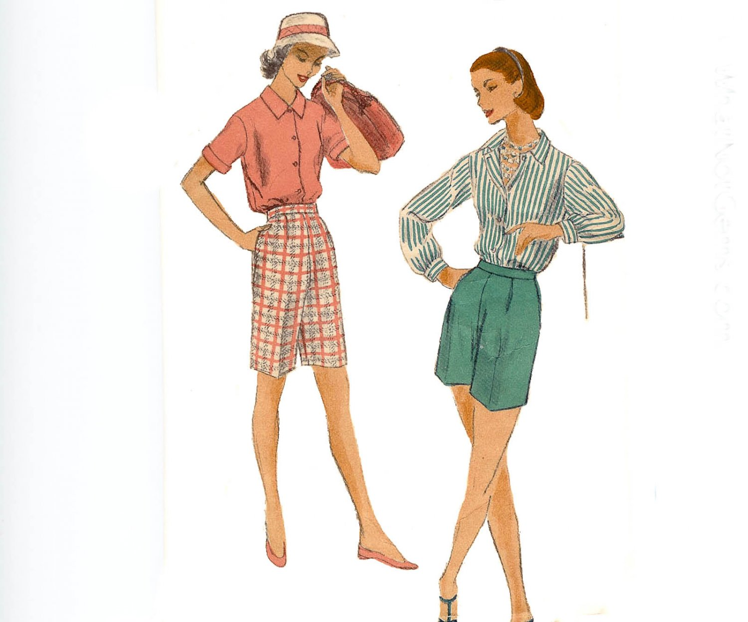 Vogue Pattern 8879 Blouse and Shorts-Vintage 1950