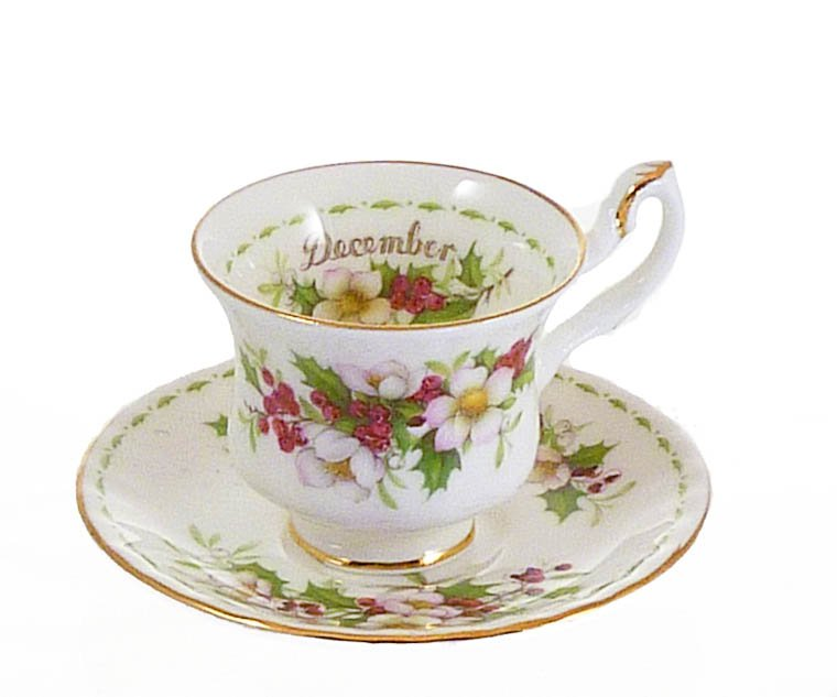Royal Albert Miniature Cup and Saucer December Christmas Rose