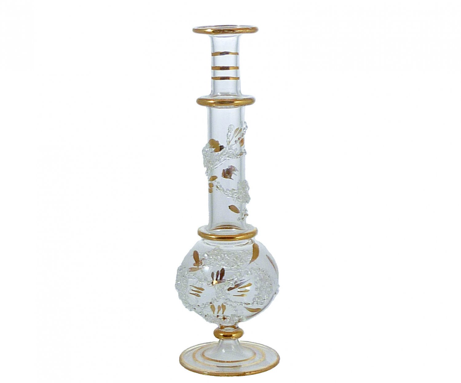 Frit and Gold-Gilded Mouth-Blown Perfume Bottle Vase