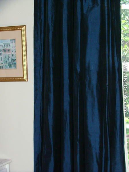 """Blue Silk Dupioni Pinch Pleat Drapery 50"""" x 120"""""""