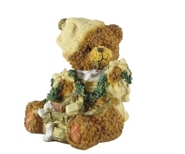 Bear with Garland, Bows and Bag Figurine by Magic Creations