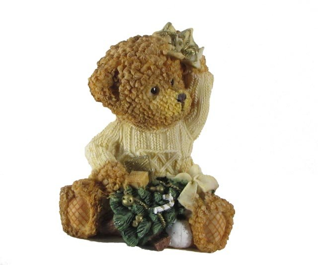 Bear with Christmas Tree, Bow and Gifts Figurine by Magic Creations