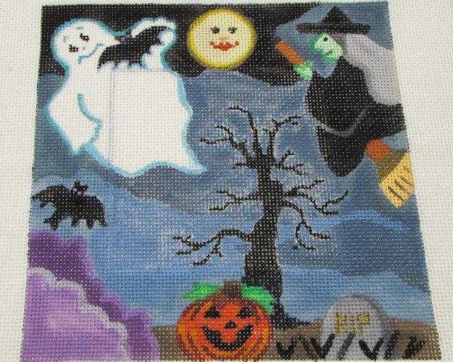 Halloween Hand Painted Needlepoint Canvas by LANI