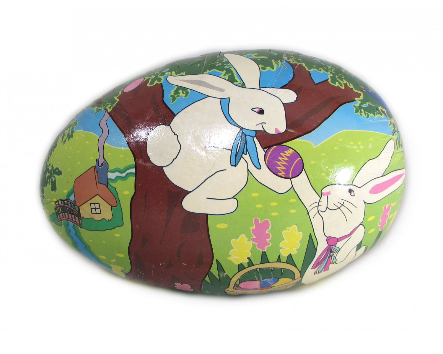 Large Paper Mache Easter Egg Filled with Plush Bunny Rabbit Illustrated R.G. Brown 12 inch