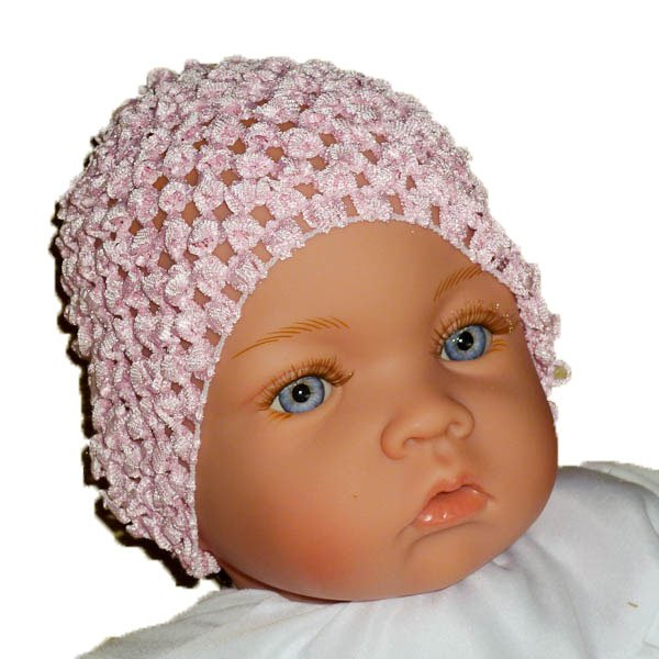 Pale Pink Beanie Waffle Crochet Baby Hat, Darling