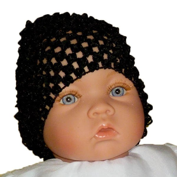 Black Beanie Waffle Crochet Baby Hat How Darling