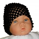 Black Beanie Waffle Crochet Baby Hat How Darling