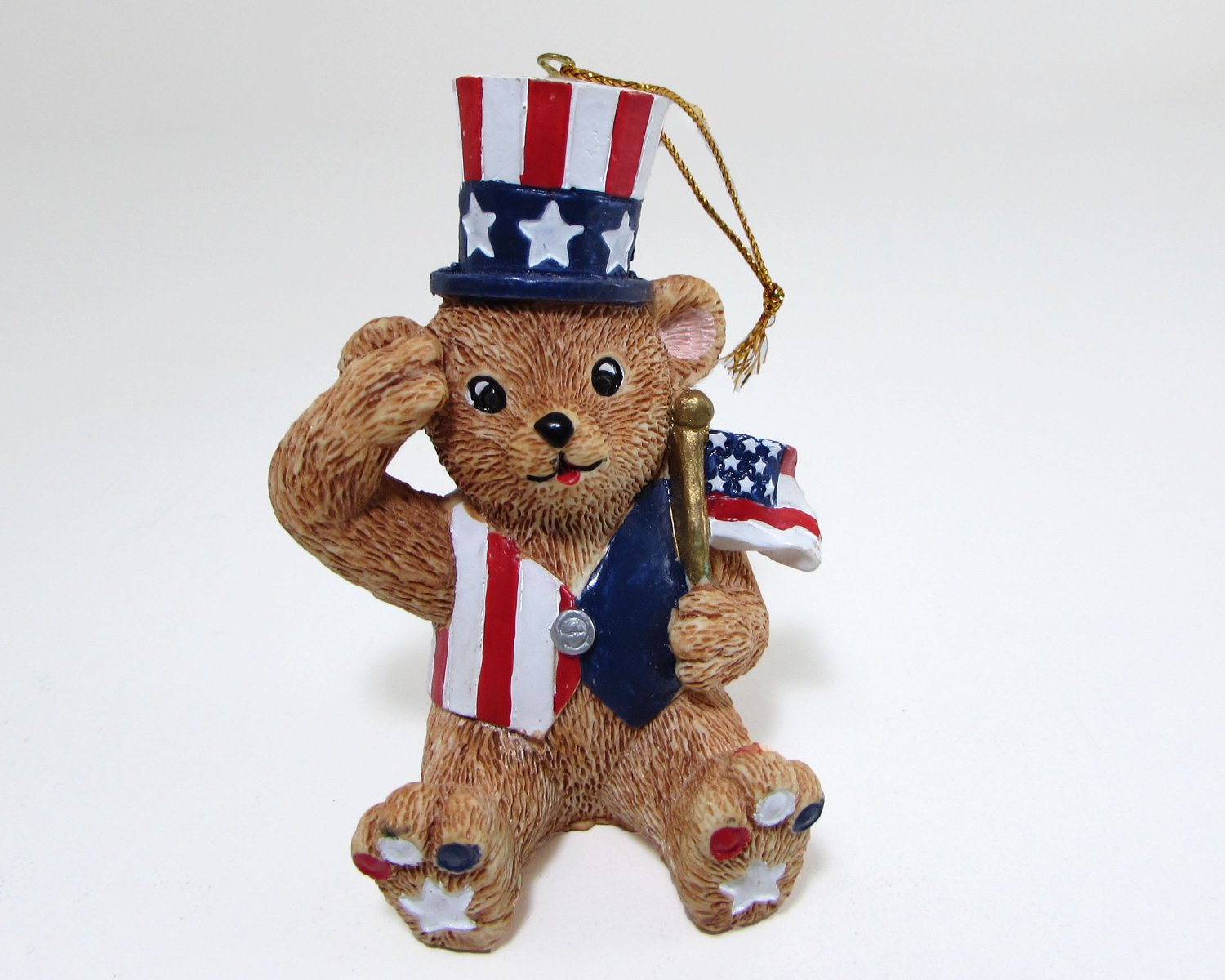 Claire's Patriotic Uncle Sam Bear Ornament Dressed in Red White Blue 1997