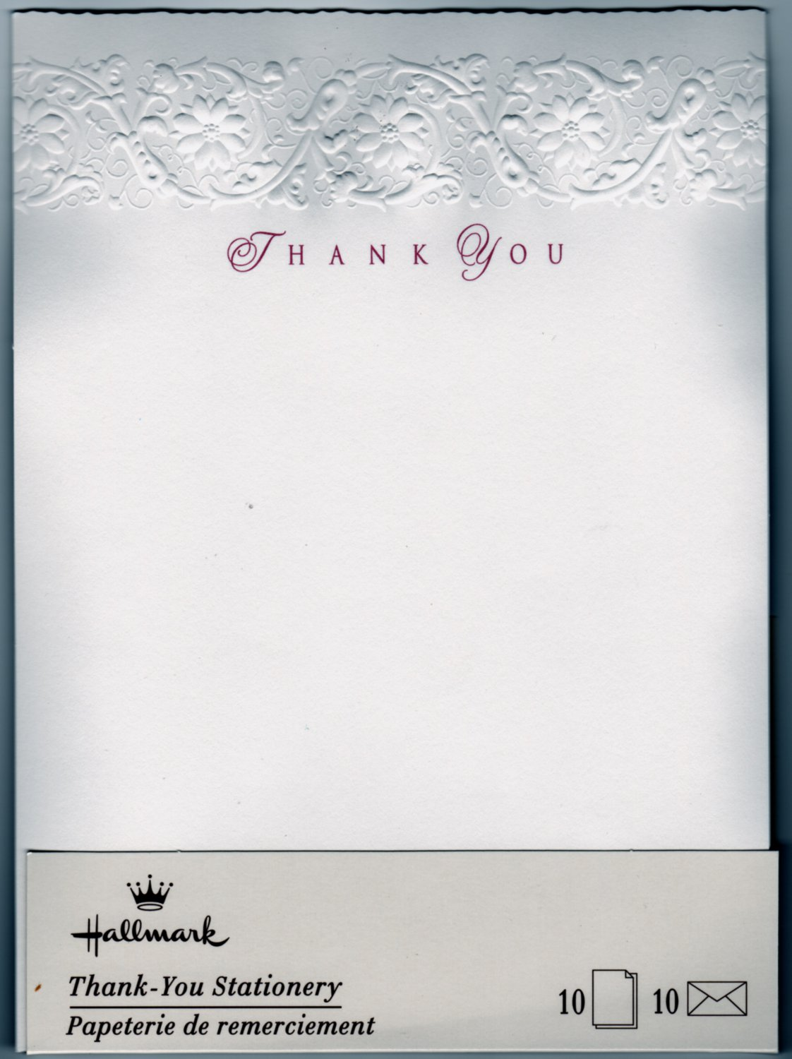 Classy Embossed Thank You Hallmark Stationery -10 Vintage 1990
