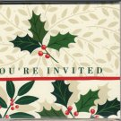 You're Invited Holiday Holly Fill-In Invitation Holiday Cards Vintage 1980