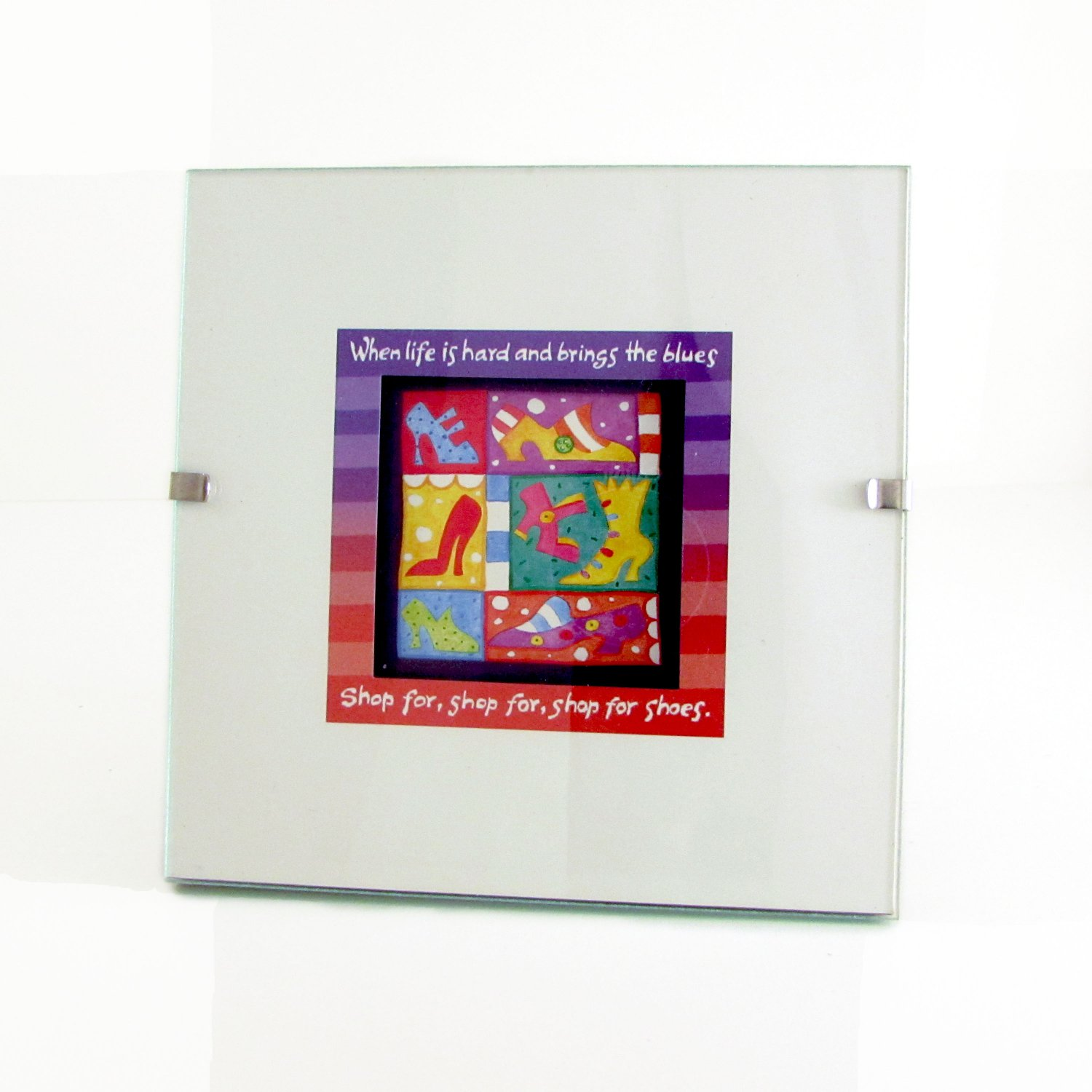 """Shop for Shoes"" Quote in Square Clip Photo Frame"