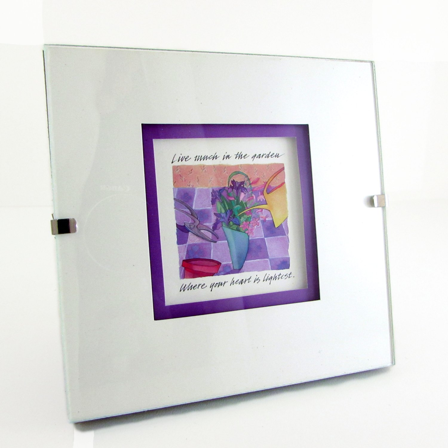 """Live Much in the Garden"" Quote in Square Clip Photo Frame"