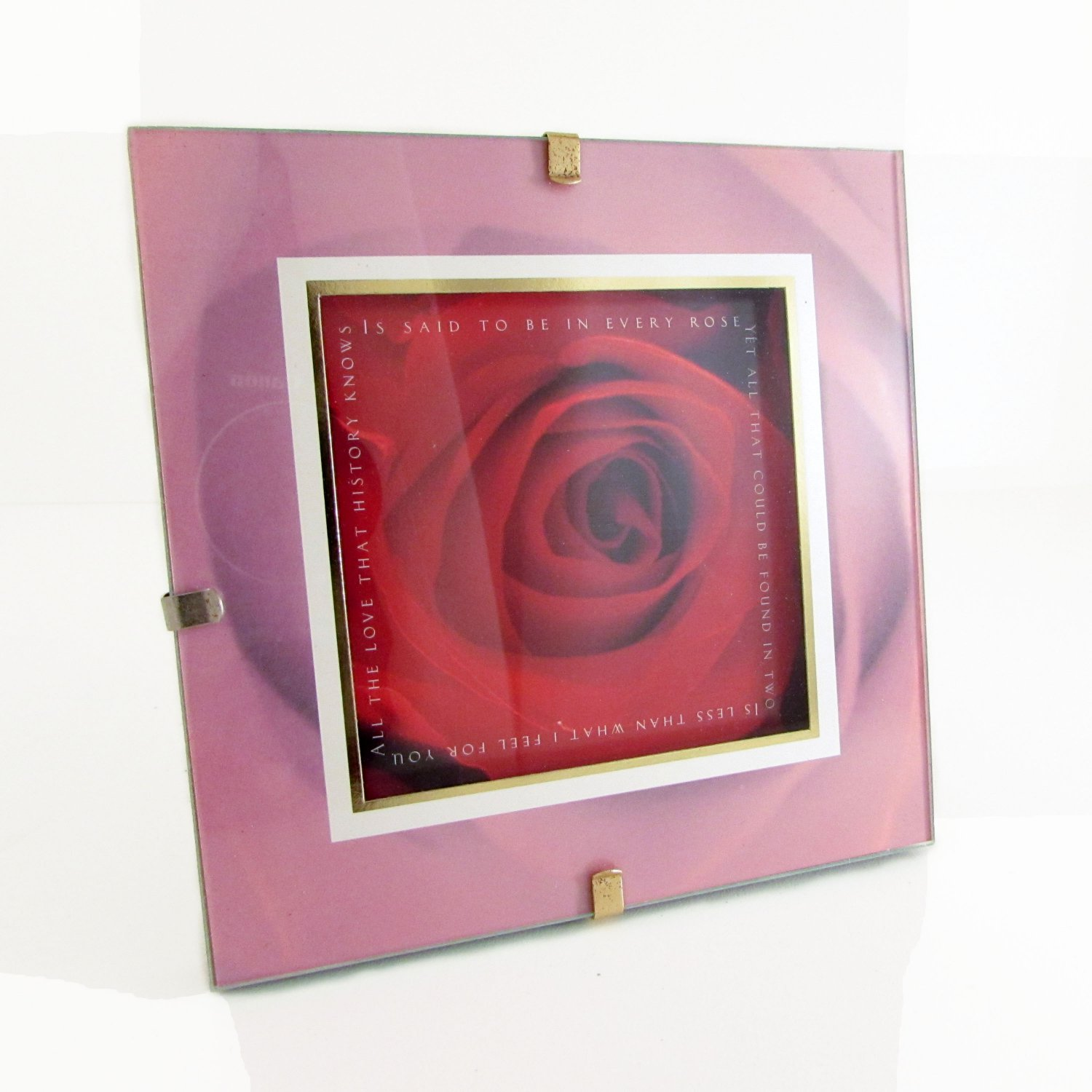 """All the Love That History Knows"" Quote Rose in Square Clip Photo Frame"