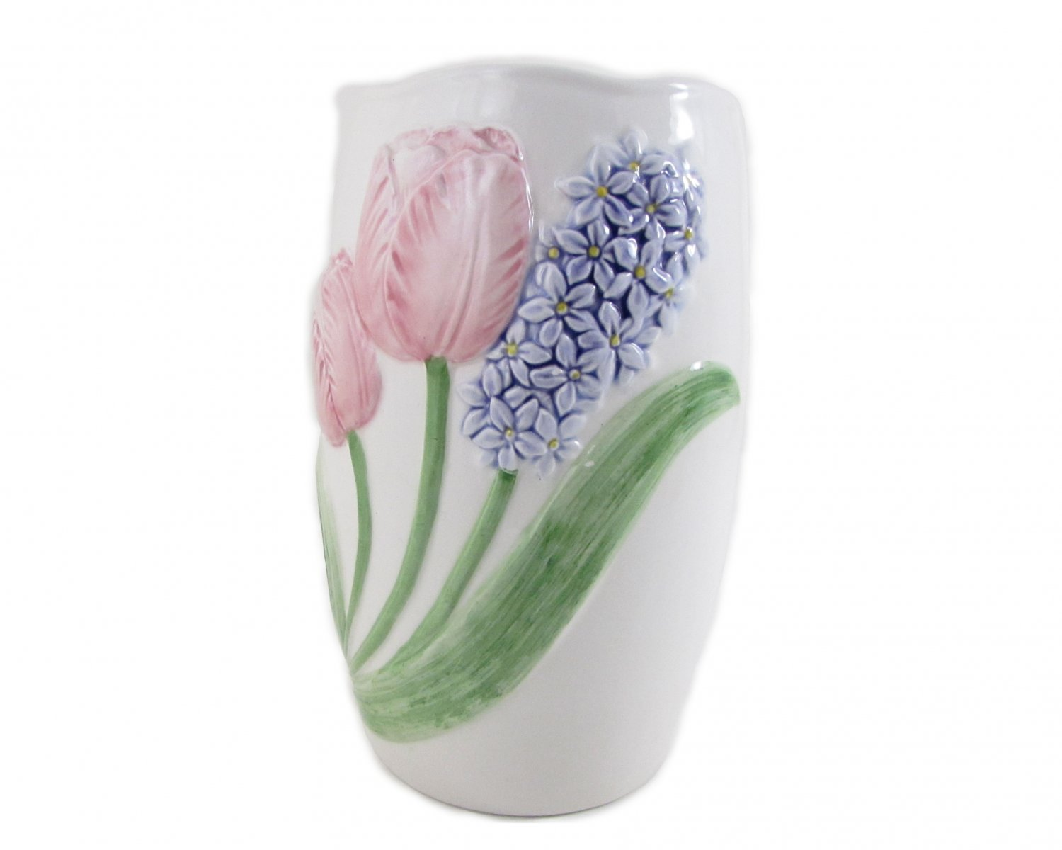 Hyacinth and Tulip Garden Ceramic Vase by  Mary Ann Baker