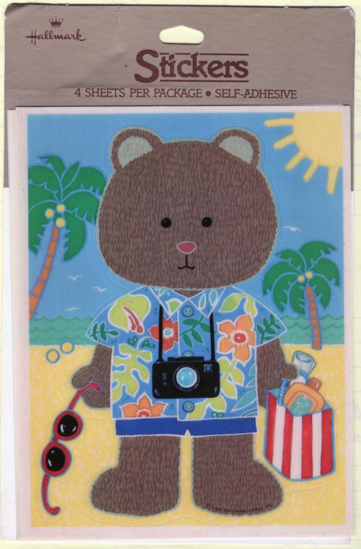 Hallmark Vacation Teddy Bear Sticker Self Adhesive 1 Sheet