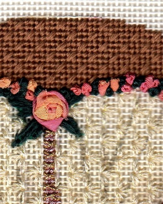 Naughty Satin Rose Corset Completed Needlepoint