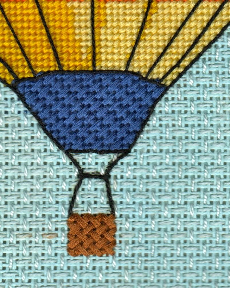 Balloon in Flight Completed Needlepoint, perfect for pillow or framed.